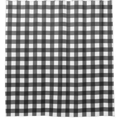 Black And White Buffalo Plaid Shower Curtain Zazzle Com Plaid Shower Curtain Rustic Shower Curtains Farmhouse Shower Curtain