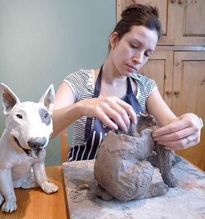Joanne Cooke, UK ceramic sculptor of dogs Joanne Cooke, UK ceramic sculptor of dogs