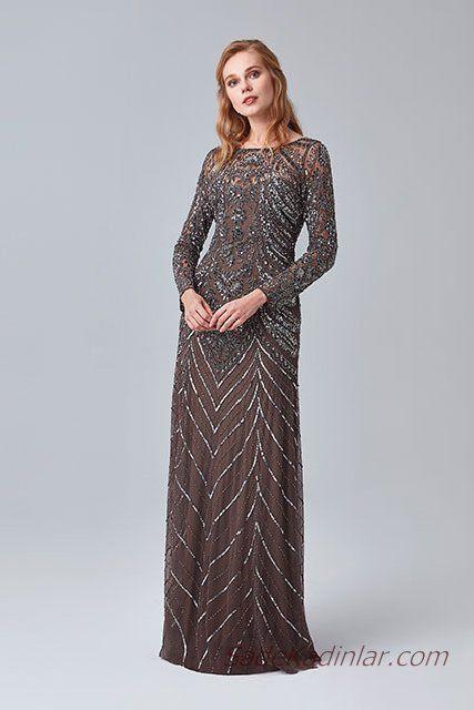 2019 Abiye Elbise Modelleri Kahverengi Uzun Kayik Yaka Uzun Kollu Boncuk Islemli Aksamustu Giysileri Elbise Modelleri Elbise
