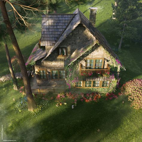 The FireFly Cottage – Vray – Case study, Cottage Architecture. Birdeye angle: The FireFly Cottage - Vray - Case study, Cottage Architecture Cute Cottage, Cottage In The Woods, Cottage Style, Storybook Homes, Storybook Cottage, Stone Cottages, Cabins And Cottages, Fairytale Cottage, Forest Cottage