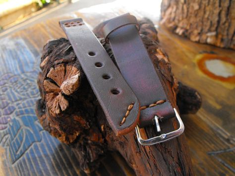 Watch strap 20mm handmade rustic leather strap band by GORIANI, $26.00