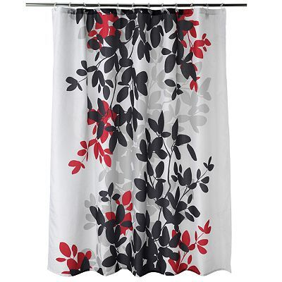 Abstract Art Shower Curtain Red Black Gray White Contemporary Shadow Land