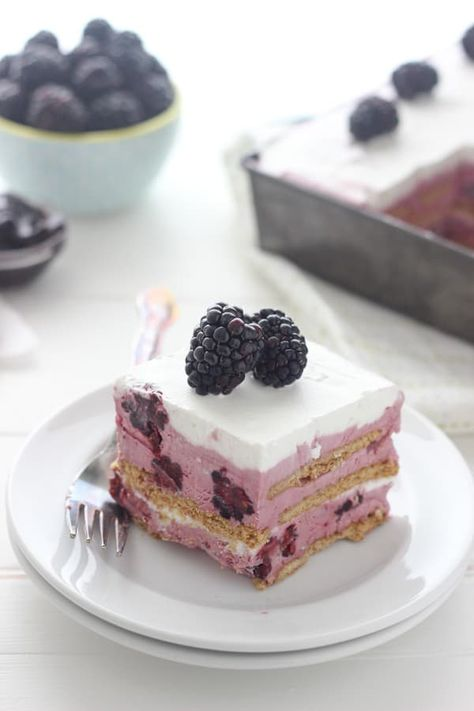 This EASY No-Bake Blackberry Icebox Cake is a fresh no-churn blackberry ice cream layered with graham cracker and whipped cream for the perfect summer treat. It takes only 15 minutes to prepare for freezing and can be served a few hours later.#blackberryicecream #iceboxcake #nochurnicecream