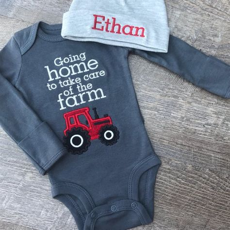 4ea090f3e Going home to take care of the farm bodysuit and hat, applique tractor  outfit, red tractor bodysuit, coming home outfit, monogrammed cap