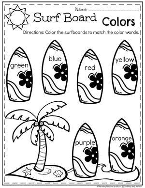 Summer Preschool Worksheets Surfboard Colors Preschool