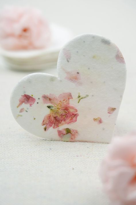 OF THE EARTH Seed Embedded Larkspur Handmade Paper Tags Heart Shape Large Pink