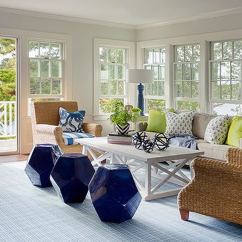 Cottage LIving Room with Seagrass Roll Arm Chairs and Cobalt Blue ...