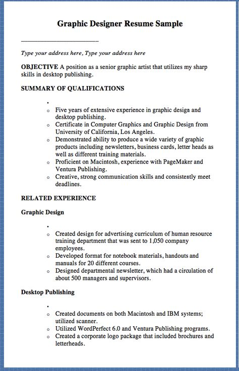 Graphic Designer Resume Sample Type your address here, Type your - artist resume objective