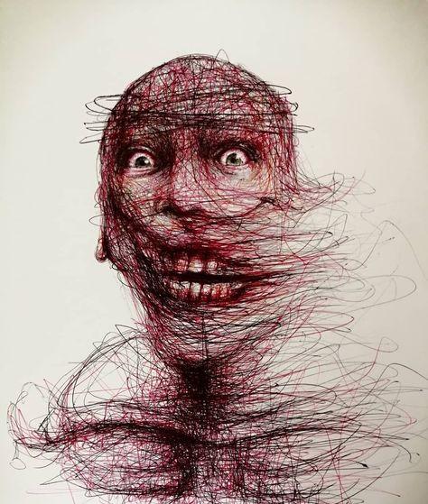 "9GAG on Twitter: ""Ballpoint pen madness  ✍🏻 ilokunst | IG… "" Creepy Drawings, Dark Art Drawings, Dark Art Illustrations, Creepy Faces, Ballpoint Pen Art, Psychedelic Drawings, Scribble Art, Horror Posters, Principles Of Art"