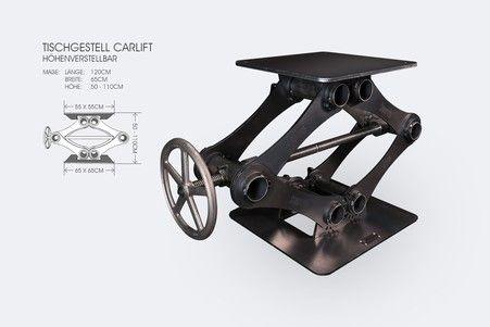 Industriedesign Wagenheber Tischgestell Rohstahl Tischgestell Tischgestell Stahl Industriedesign