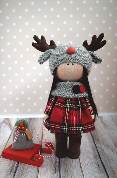 Deer Soft Doll Handmade Textile Doll Tilda Fabric Doll Winter Baby Doll Rag Art Doll Christmas Gift Doll Kids Present Decor Doll by Olga G
