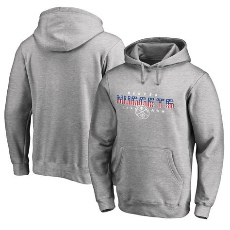 Denver Nuggets Fanatics Branded Spangled Pullover Hoodie Ash Hoodies Pullover