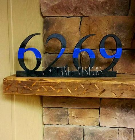 Police Officer Thin Blue Line Wooden Badge Number Decor | Etsy