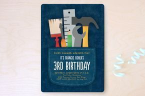 Tool Pocket Children's Birthday Party Invitations by Erica Krystek at minted.com