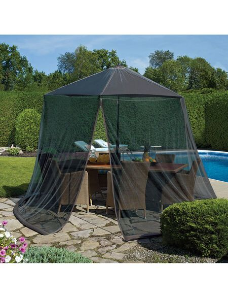 Patio Umbrella Mosquito Netting With Permethrin Gardener S Supply In 2020 Patio Umbrella Patio Umbrella Accessories Screened Canopy