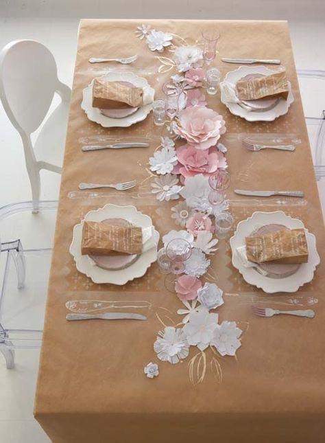 brown kraft paper, white chalk illustrations, paper bag menus and paper flowers look so well done here #wedding #springwedding