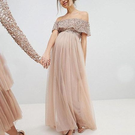 Maternity Off Shoulder Maxi Tulle Dress With Tonal Delicate