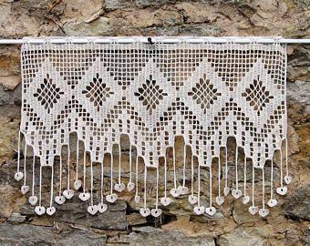 retro Curtain handmade crochet Christmas gift housewarming. Breeze view for door or window ecru and white