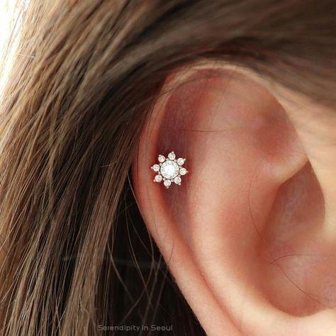 CZ Mini Sunflower cartilage earring small tragus earring dainty flower barbell