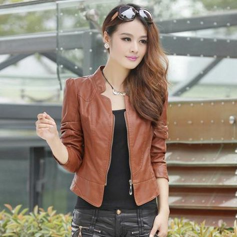 New Fashion Slim Women's Leather Jackets Stad Collar PU