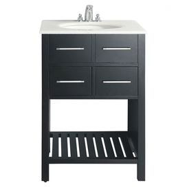 """Add classic style to your master bath or powder room with this vanity. Showcasing a lacquer-finished wood base, and white countertop, this eye-catching design adds timeless elegance to your decor.  Product: Bathroom vanityConstruction Material: HardwoodColor: Black and whiteFeatures: One bottom shelfThree pre-drilled faucet holes for standard 4"""" center faucet 105 Degree hidden hingesDimensions: 35"""" H x 24"""" W x 21"""" DNote: Faucet and mirror not included"""