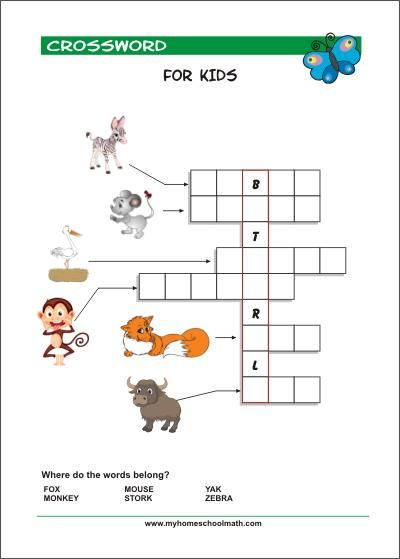 Free Printable Crossword Puzzles For Kids With Pictures Pre Writing  Activities, Kids Math Worksheets, Preschool Reading