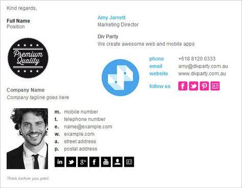 21+ email signature generators Work Pinterest Inspiración - email signature example