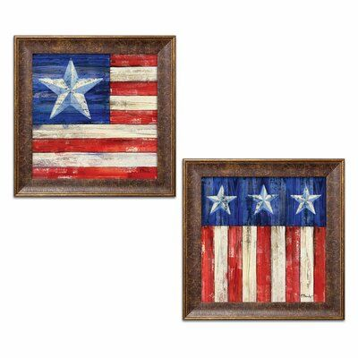 August Grove All American Flag Iii Iv 2 Piece Watercolor Painting Print Set Size 12 H X 12 W X 0 7 In 2020 American Flag Painting Flag Painting Painting Prints