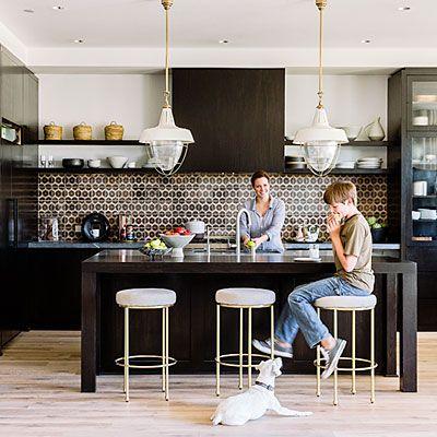 Black cabinets, light floors