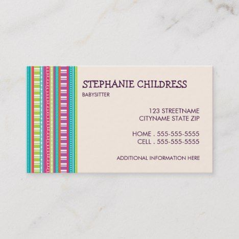 Colorful Stripes Babysitting Business Card Zazzle Com Striped Business Card Babysitting Business Cards