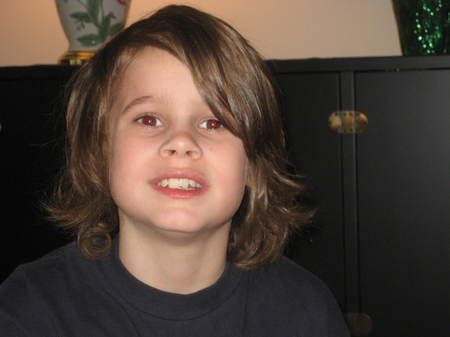How i was hoping coltons hair would grow....but my mom keep cutting it!   long hair on boys