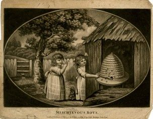 Two children disturbing a beehive which stands in front of a wooden hut on the right, one poking it with a stick while the other tries to shoo away the bees that fly out a tee and wooden fence behind in an oval.  1796  Mezzotint with some etching