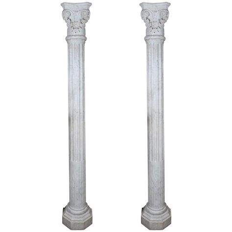 Pair Of Early 19th Century Carved Marble Columns Marble Columns Marble Carving Marble