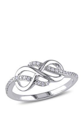 Belk Co Diamond Infinity Ring In 10k White Gold White Gold 8 Pear Shaped Diamond Ring Geode Jewelry Sterling Silver Earrings Studs
