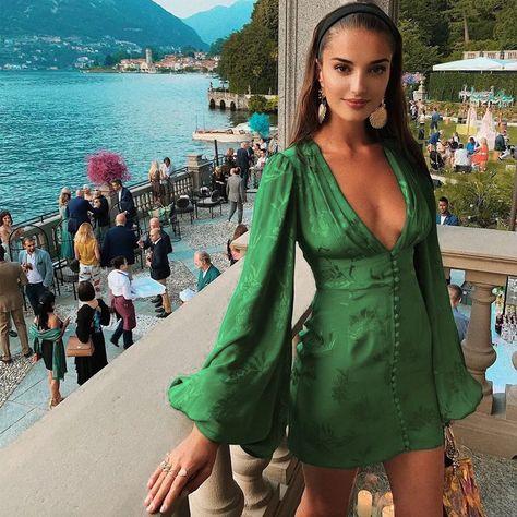 Sexy v-neck short party dress Green elegant dress women Lantern sleeve mini dress Source by omazastyle Dresses short