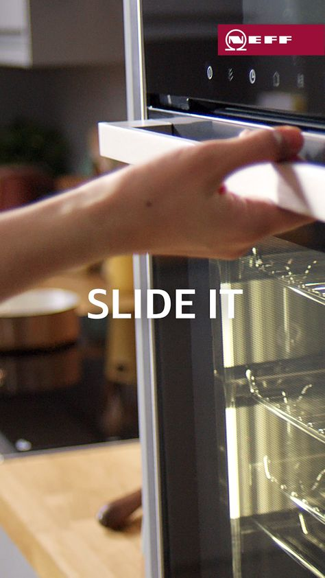 Get closer to your cooking with the unique Slide&Hide® door. It fits smoothly under the oven to allow more room for your #NEFFpassion. Find out more at www.neff-home.com/uk/highlights/slideandhide