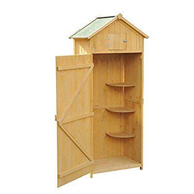 Outsunny Fir Wooden Garden Storage Outdoor Garden Tool Store