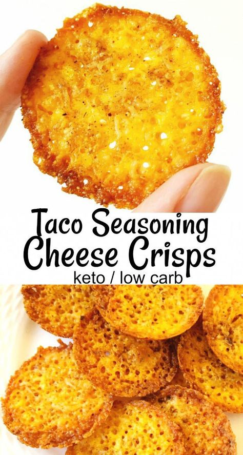 Taco seasoning cheese crisps! Great sub for crackers or chips - 3 ingredients and 6 minutes in the oven, and you're snackin'. For keto / low carb lifestyles, these are a sanity-saver. #keto #ketogenic #ketorecipes #cheese
