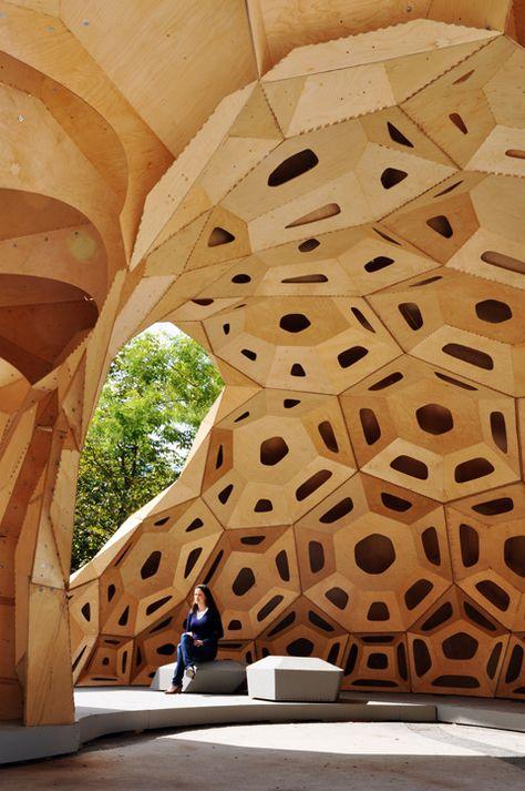 Parametric Wood Architecture, by Das Institut für Computerbasiertes Entwerfen (ICD) and das Institut für Tragkonstruktionen und Konstruktives Entwerfen (ITKE) of Universität Stuttgart http://icd.uni-stuttgart.de/ http://www.itke.uni-stuttgart.de/