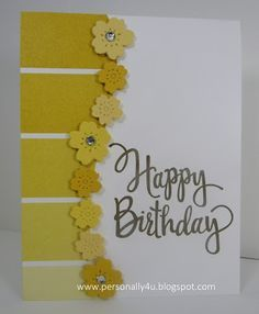 Mena Green - Stampin' Up! Demonstrator - creating and making stamping projects personally yours. Stampin' Up! cards and class projects. Paint Chip Cards, Paint Sample Cards, Paint Samples, Handmade Birthday Cards, Happy Birthday Cards, Greeting Cards Handmade, Card Birthday, Card Making Techniques, Diy Cards