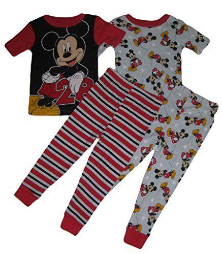 Disney Mickey Mouse Pajamas Boys Size 3T Toddler 2 piece Top Bottom Red Black