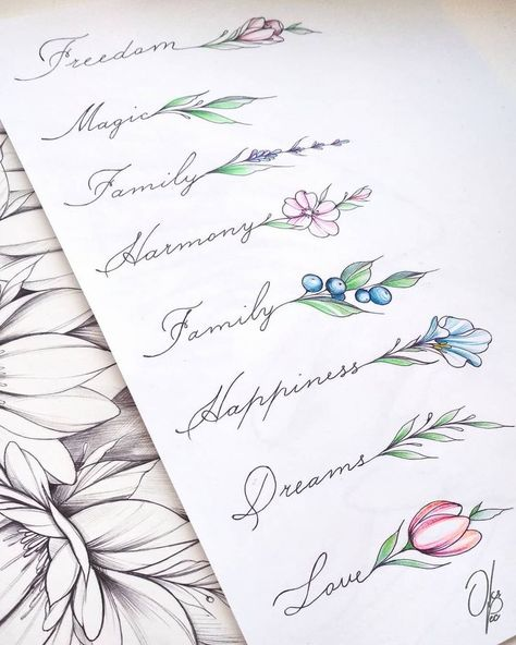 I like idea of words and a flower, want to do kids names with birth month flower attached to the name:)
