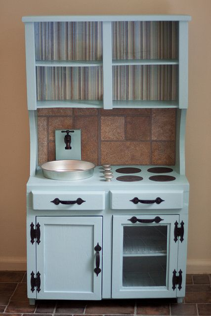Children Vintage Hutch Made Into A Kitchen Center For How To Refinish Redo Furniture Pinterest Child And Kitchens