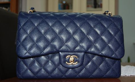 82f94272f6f7 Chanel Jumbo flap in Navy caviar with gold hard wear