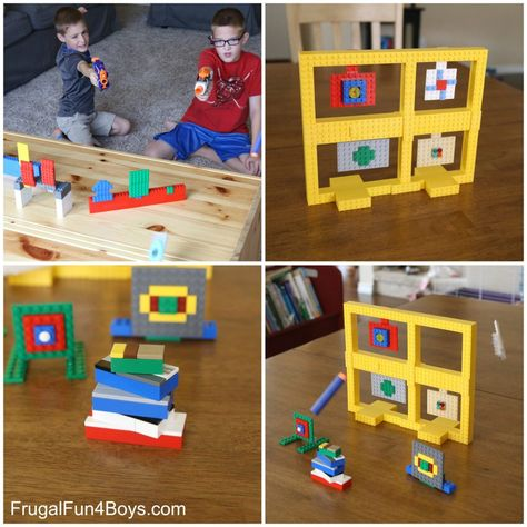 LEGO Nerf Targets to Build – Frugal Fun For Boys and Girls - Kinderspiele Minecraft Lego, Lego Creationary, Lego Craft, Lego Toys, Lego Batman, Minecraft Buildings, Lego Activities, Lego Games, Craft Activities For Kids