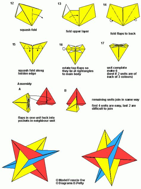 6 piece modular origami star