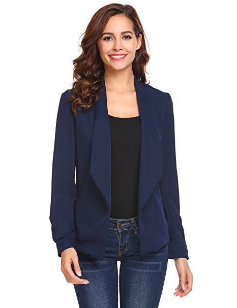 Damen Blazer kurze Jacke Langarm Elegant Casual Business