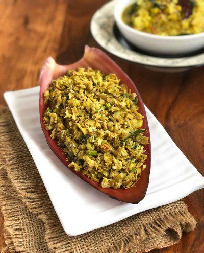 Vazhaipoo Podimas Recipe Banana Flower Poriyal Sabzi Recipe Recipes Banana Flower Dried Vegetables