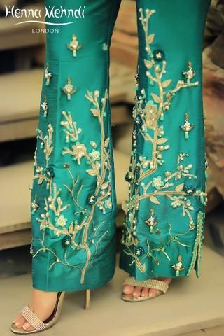 Teal Diamante & Embellished Embroidered Trousers – Henna Mehndi