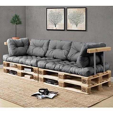 159.90 EUR Euro Paletten Sofa   DIY Möbel   Indoor Sofa Mit Paletten Kissen  / Ideal Für Wohnzimmer   Wintergarten (2 X Sitzauflage Und 5 X Rückenkiu2026